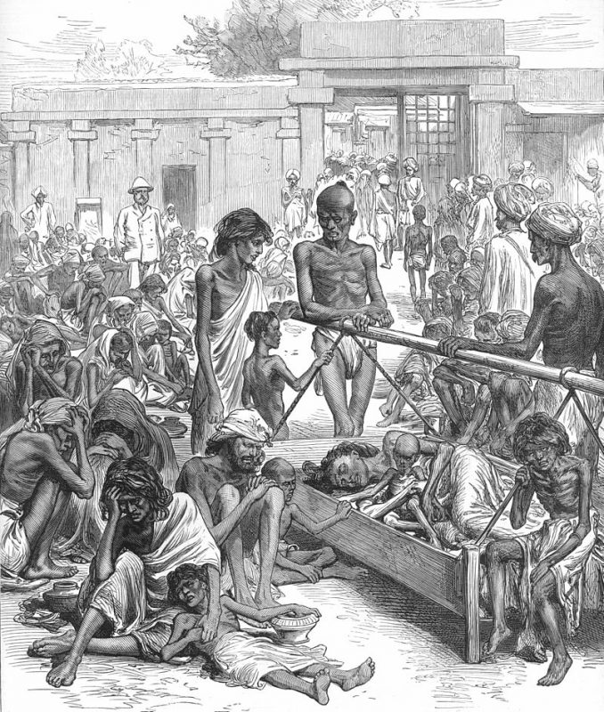 People waiting for famine relief in Bangalore From the Illustrated London News, 1877 as provided/Wikimedia Commons. Image is in public domain.